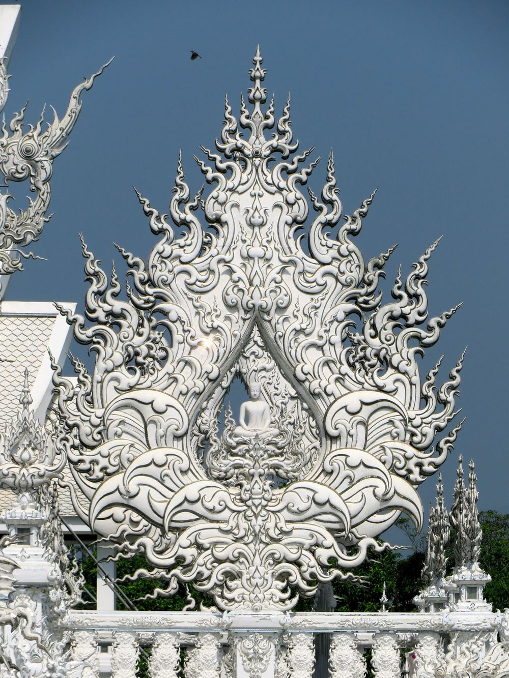 The temple itself is meat to symbolize the realm of Buddha and the rising to a state of nirvana.