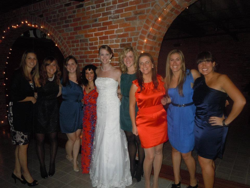 These are literally all the people who made this story happen.  From left to right:  Stephanie - Cody's HS BFF, Cody, Sheila, Lindsay, Em Royal (getting  married!), me, Monica, Alissa, and Teachout!)