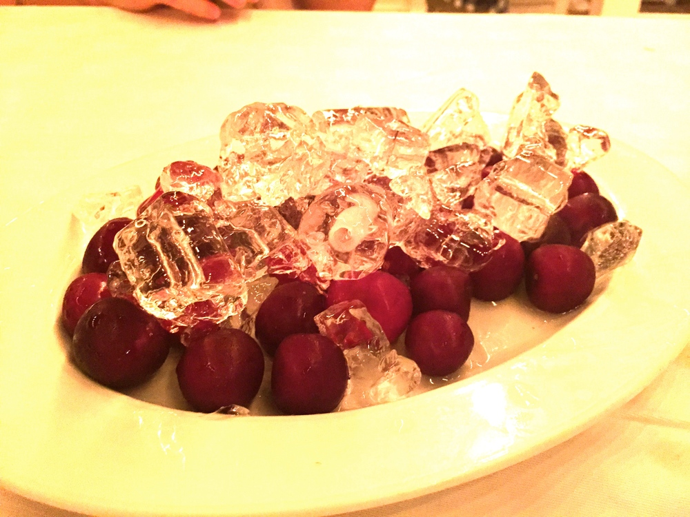 Tired of cherries being so expensive?  Go to Turkey.  And, they're served on ice.