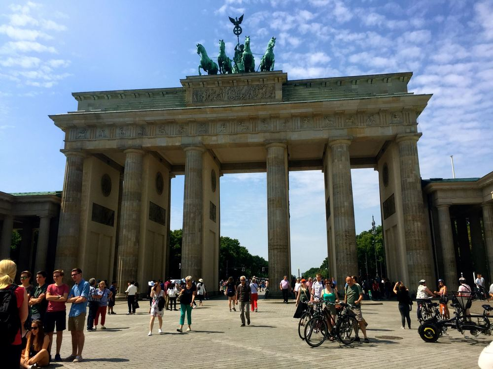 Brandenburg Gate.  Located in West Germany near the wall, it was an area for celebration when the wall came down in 1989.