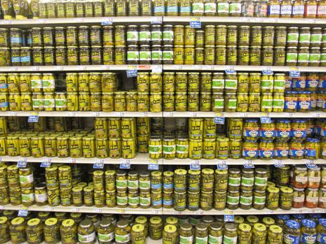 Gherkin section of a standard supermarket.