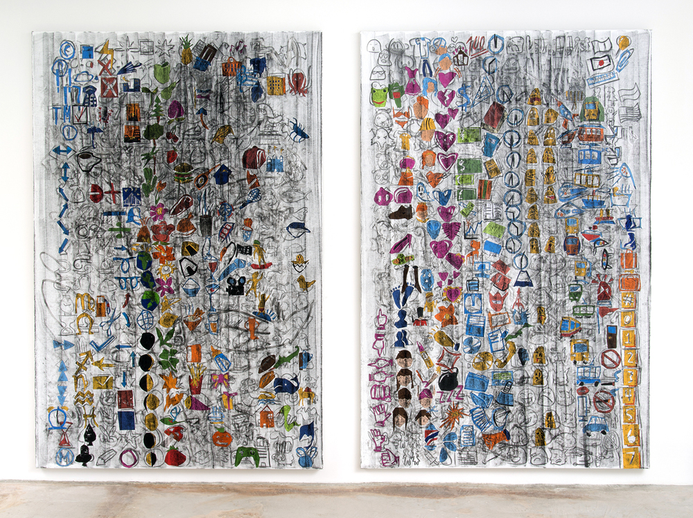 Despina Stokou   Emojis android (left)  &  Emojis android (right)  Charcoal and collage on canvas 72 x 48 inches (each)