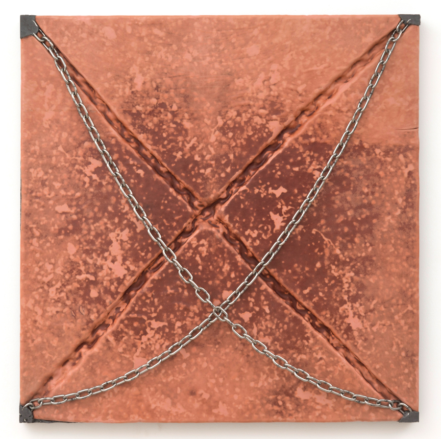 Davina Semo   A LOT OF THE TIME I STILL FEEL LIKE I'M WAITING FOR THE IMPACT , 2015 Leather, pigmented reinforced concrete, stainless steel chain 30 x 30 x 2 inches