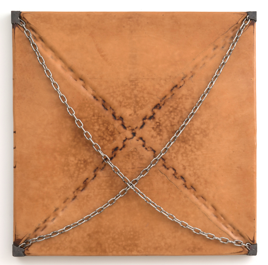 Davina Semo   SOMETIMES I WANT TO CHANGE BUT SOMETIMES I JUST WANT PEOPLE TO STAY OUT OF MY WAY , 2015 Leather, pigmented reinforced concrete, stainless steel chain 31.75 x 31.75 x 2.5 inches
