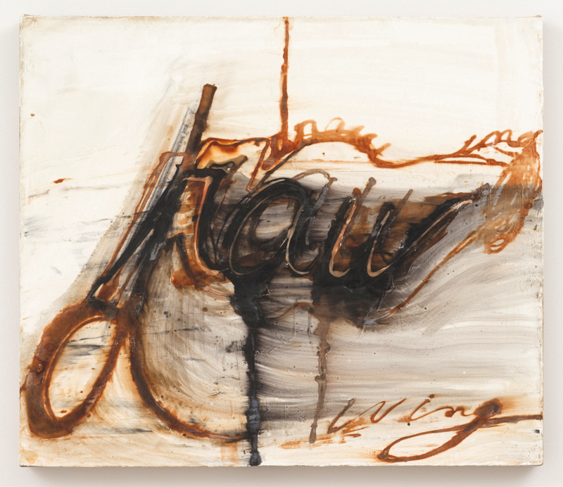 Mira Schor   Drawing (raw) , 2002 Ink and rabbit skin glue on gesso on linen 24 x 28 inches