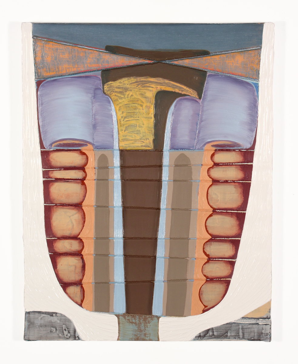 Magalie Guérin    Untitled (bondage-hammer) , 2015  14 x 11 inches  Oil on canvas