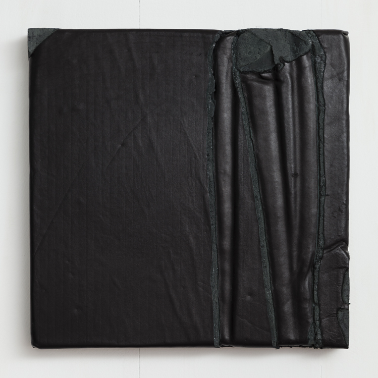 Davina Semo    LOOK AT NO ONE, REVEAL NOTHING, REMAIN STILL , 2015  Leather, pigmented reinforced concrete  12 x 12 x 1.625 inches