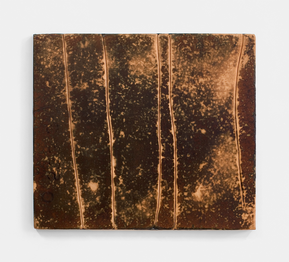 Davina Semo    AFTER A WHILE THE SUN MOVES AND THE    SUNLIGHT COMES RIGHT ON THE BED , 2015  Branded leather, pigmented reinforced concrete  34.25 x 30.25 x 1.75 inches