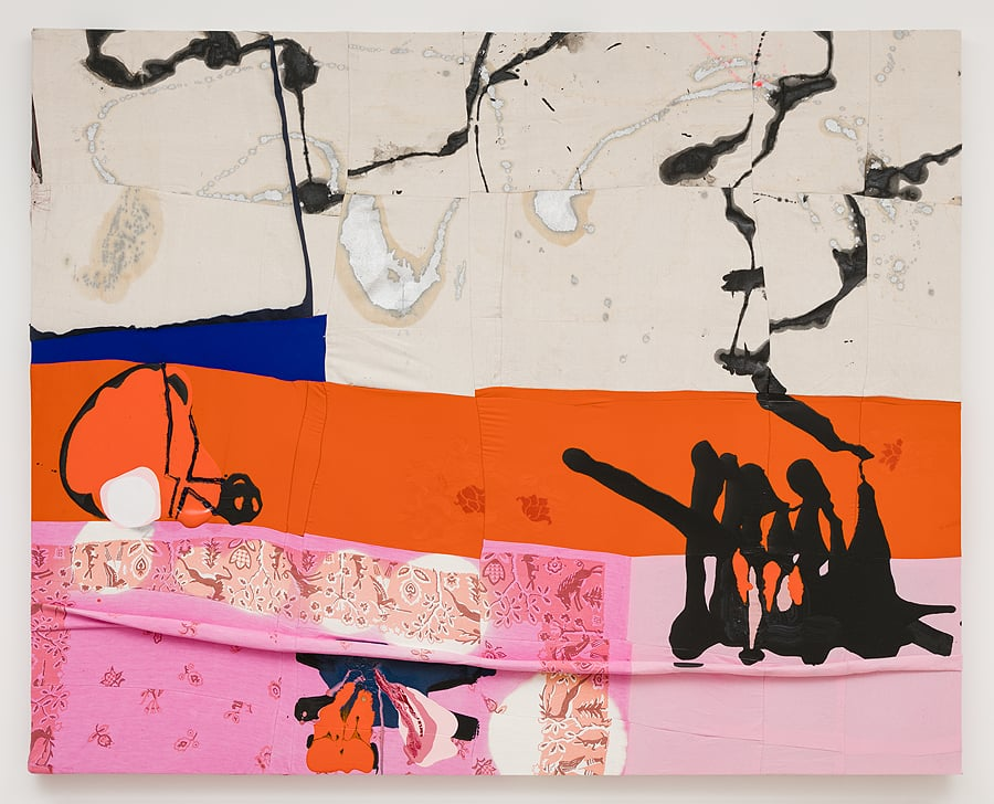 Molly Zuckerman-Hartung    Gimme Shelter,  2015  Enamel, oil and bleach on sewn drop-cloth, cotton, polyester, silk  60.25 x 74.75 inches