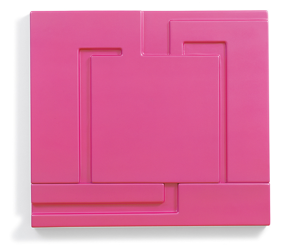 Peter Halley    Relief (Fuschia) , 2001  Pearlescent acrylic on molded fiberglass  32.5 x 35.5 x 2 inches  2/15 (from an edition of 15 numbered uniquely-painted reliefs)
