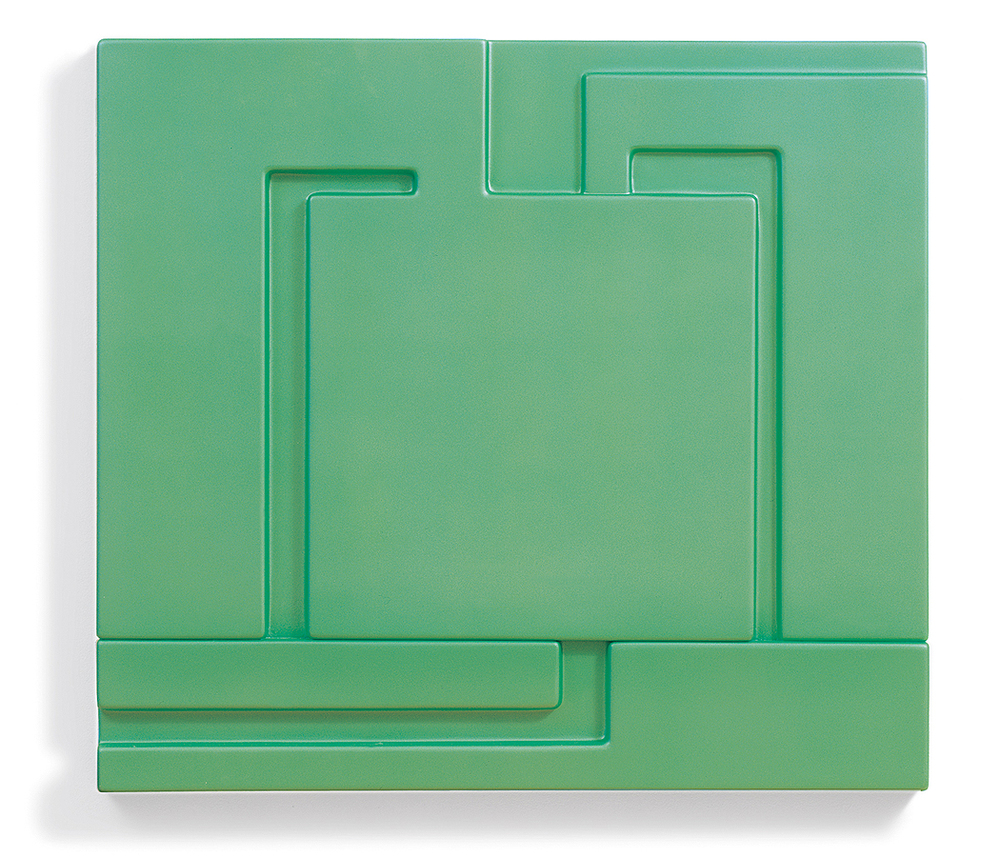 Peter Halley    Relief (Sea Green) , 2001  Pearlescent acrylic on molded fiberglass  32.5 x 35.5 x 2 inches  1/15 (from an edition of 15 numbered uniquely-painted reliefs)