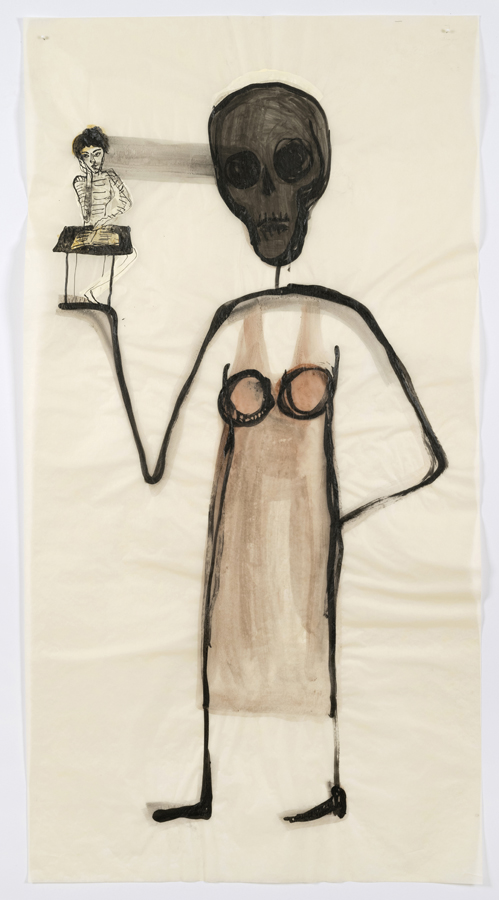 "Mira Schor    ""Power"" Figure #14: Mira at 19 and Now , 2015  Ink and gesso on tracing paper  45 x 24 inches"