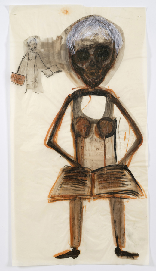 "Mira Schor    ""Power"" Figure #19: Self-Portrait with a book , 2015  Ink and acrylic on tracing paper  45 x 24 inches"