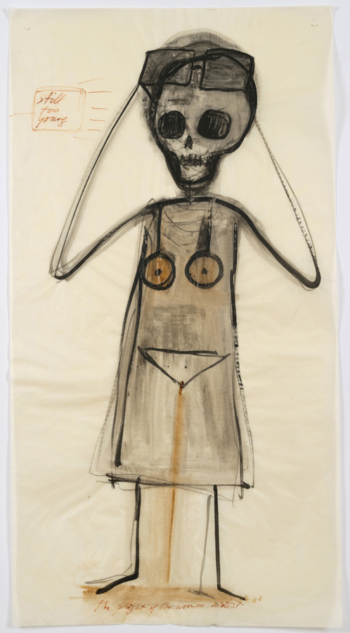"Mira Schor    ""Power"" Figure #4: ""Still Too Young,""  2015  Ink on tracing paper  45 x 24 inches"
