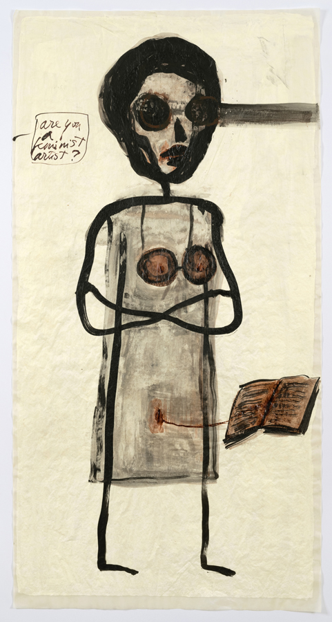 "Mira Schor    ""Power"" Figure #18: Are You A Feminist Artist?  [red book], 2015  Ink and gesso on tracing paper  45 x 24 inches"