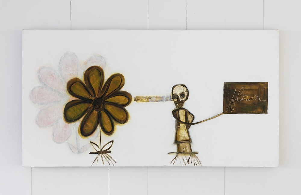 Mira Schor    Death Is A Conceptual Artist , 2015  Oil on linen  24 x 45 inches