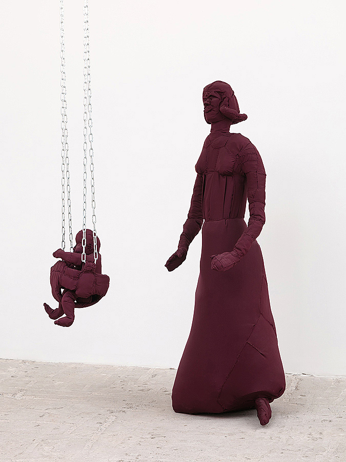 Dakotah Savage    Mother and Child , 2016  Poly lining, thread, batting wire, and chain  Dimensions variable