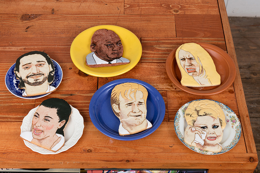 Rebecca Levitan    Spilled Milk: Shia Labeouf ,  Michael Jordan, Claire Danes, Kim Kardashian, Tammy Faye Bakker, James Van Der Beek,  2016  Flour, butter, sugar, eggs, food coloring  6.5 x 4 inches each