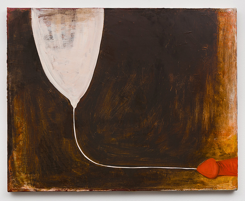 Mira Schor    One Thread , 1989  Oil on canvas  16 x 20 inches