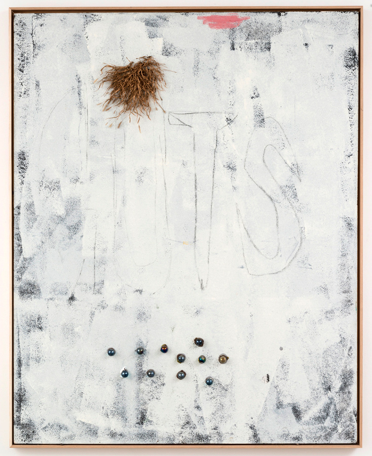 Dan Ivic    GUTS,  2012-2015  Oil, grass, glass marbles, household latex, charcoal, and latex caulk on canvas with artist's frame  60 x 48 inches