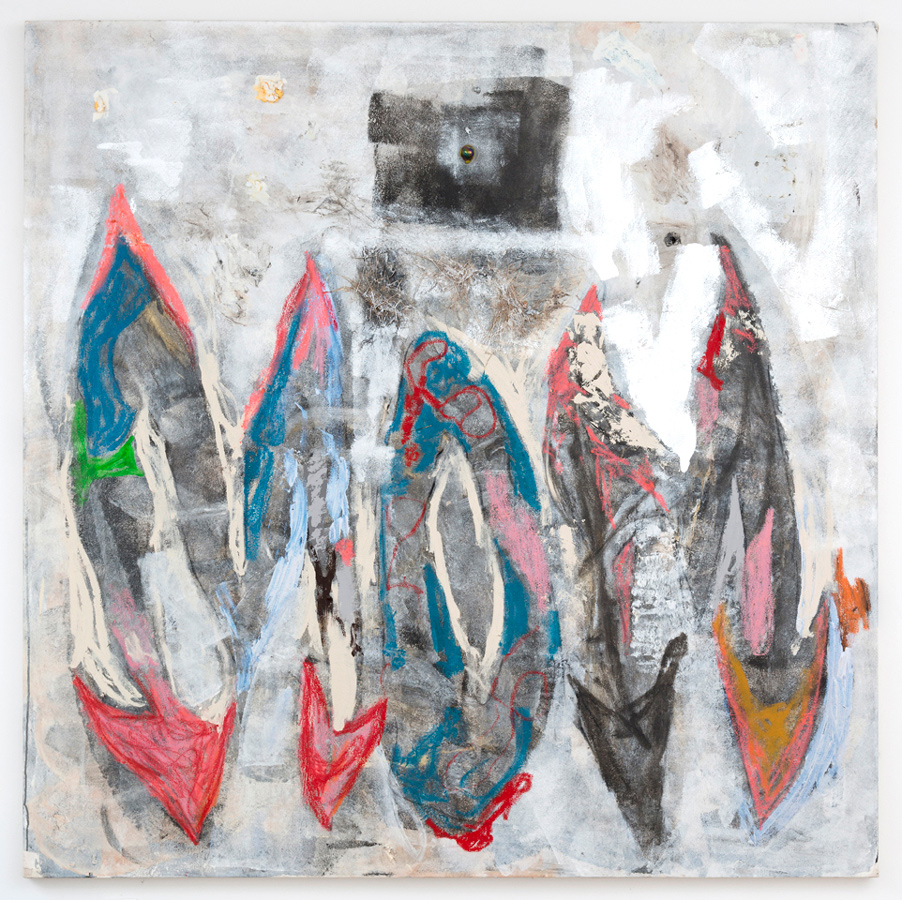 Dan Ivic    MOM , 2012-2015  Oil, acrylic, oil stick, latex caulk, grass, and glass marbles on canvas  70 x 70 inches