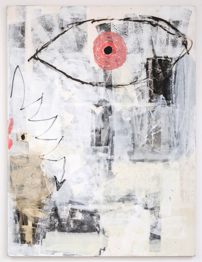 Dan Ivic    SUNRISE , 2012-2015  Oil, acrylic, oil stick, and collage on canvas  96 x 70 inches