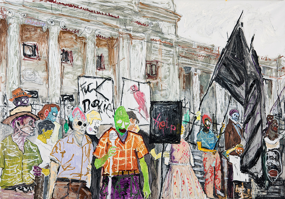 Farley Aguilar   The Protest , 2015  Oil on linen  61.5 x 87.5 inches