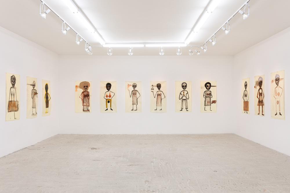 "Mira Schor   ""Power"" Figures , 2016  Installation view at Lyles & King"