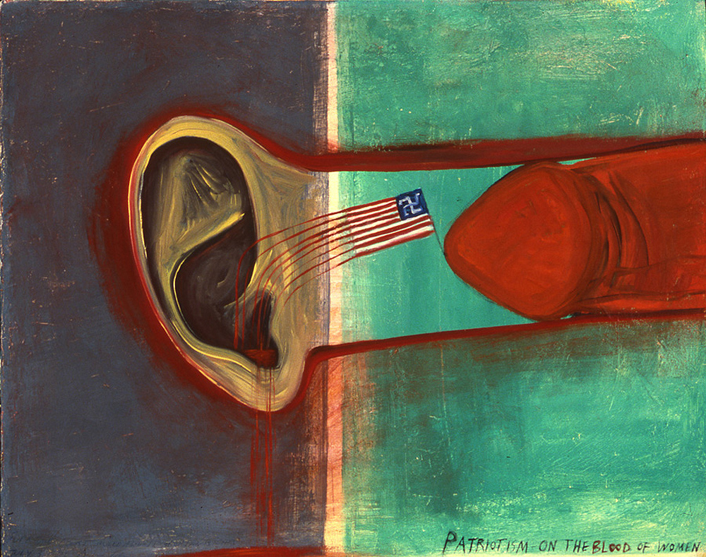 Mira Schor   Patriotism On the Blood of Women , 1989  Oil on canvas  16 x 20 inches