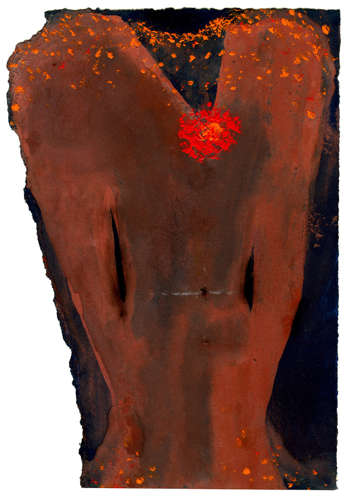 Mira Schor   Empty Dress, Red Flower , 1974  Gouache on paper  7.5 x 4.5 inches