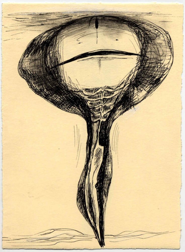 Mira Schor   Skate Figure , May 4, 1987  Ink on paper  6.5 x 4.5 inches