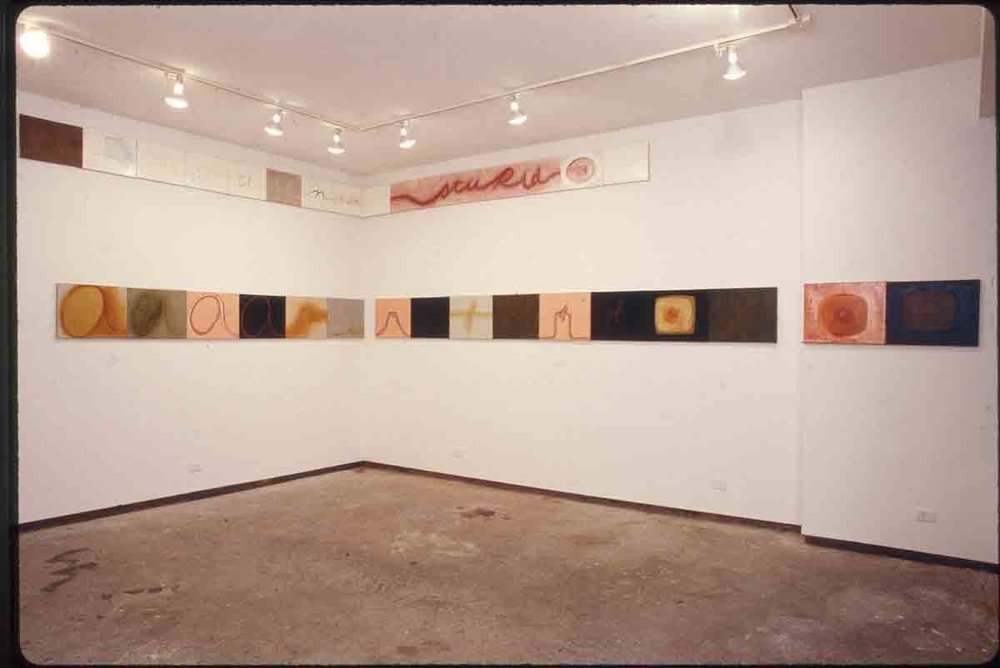 Mira Schor   Area of Denial II , 1993  Oil on linen  16 x 20 inches each  Installation view at  Horodner Romley Gallery  New York, NY  1993