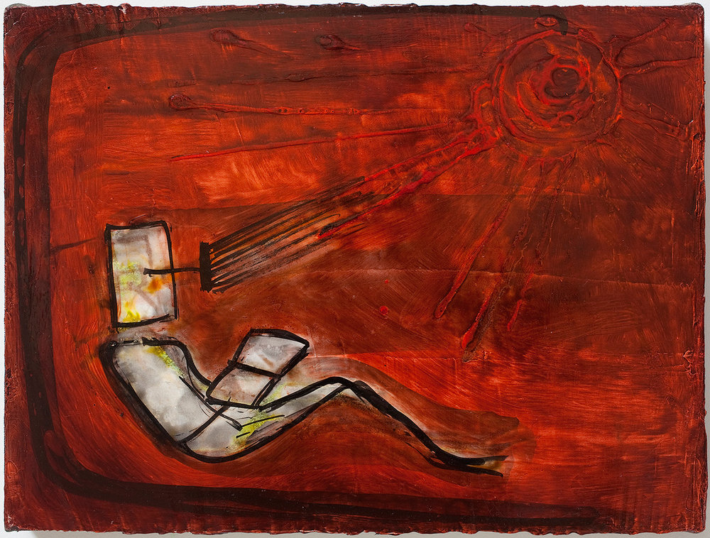 Mira Schor   The Song of the Cardinal , 2011  Ink and oil on gesso on linen  12 x 16 inches