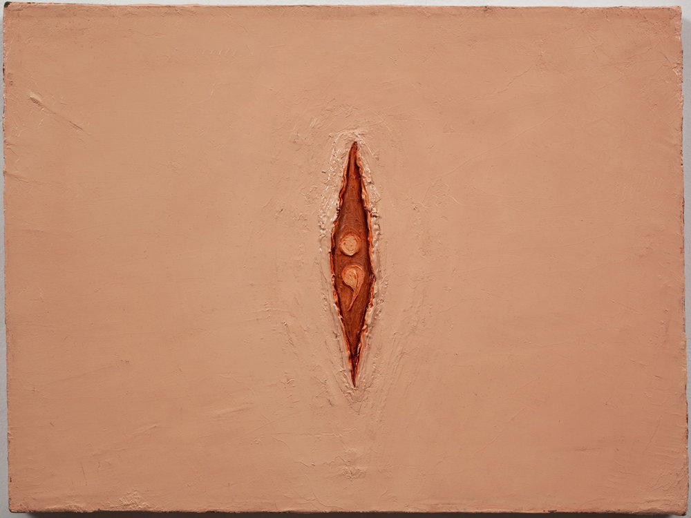 Mira Schor   Slit of paint , 1994  Oil on canvas  12 x 16 inches