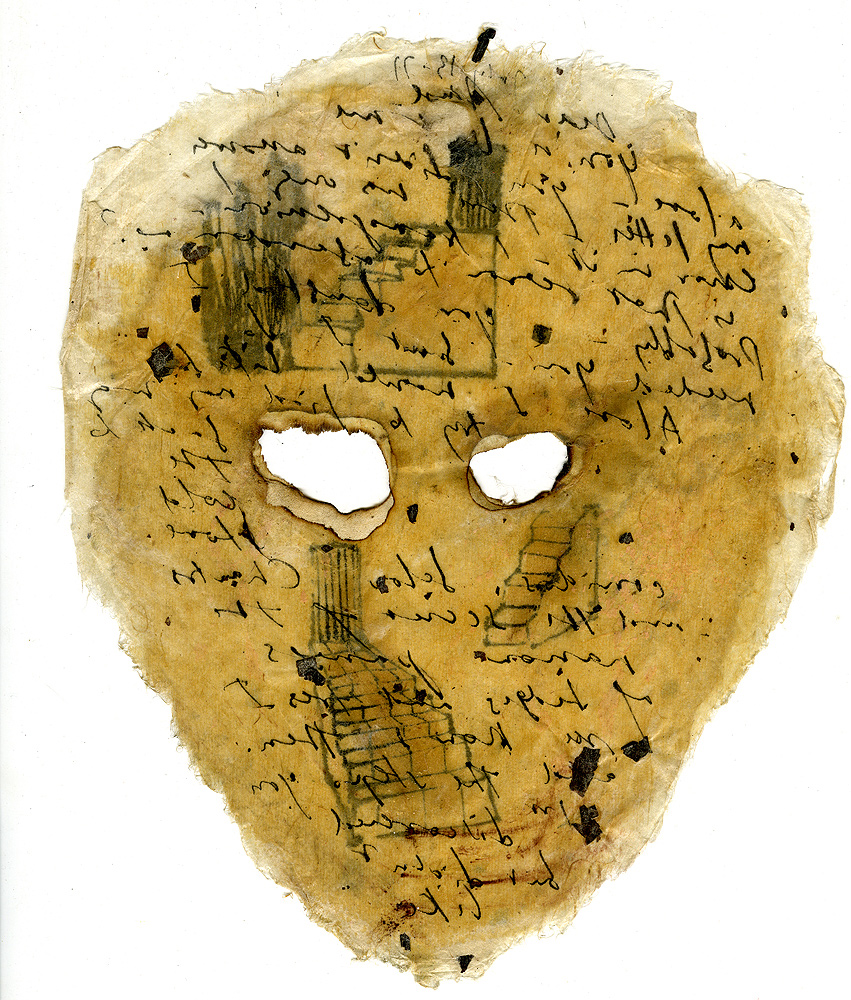 Mira Schor   Ten Masks, #9 , 1977  Ink and Japan gold size on rice paper  9.5 x 7.5 inches  Recto