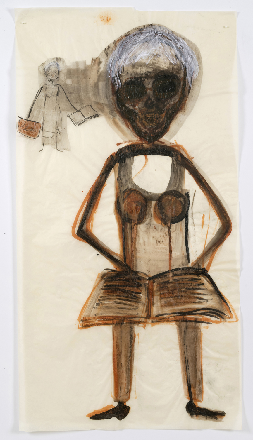 "Mira Schor   ""Power"" Figure #19: Self Portrait with a book , 2015  Ink and acrylic on tracing paper  45 x 24 inches"