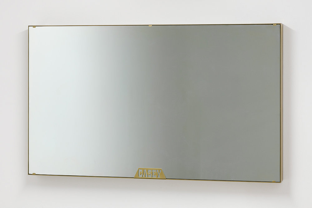 Casey Jane Ellison    Casey Mirror,  2016  Steel, two-way glass, television  30 x 51 x 4 inches