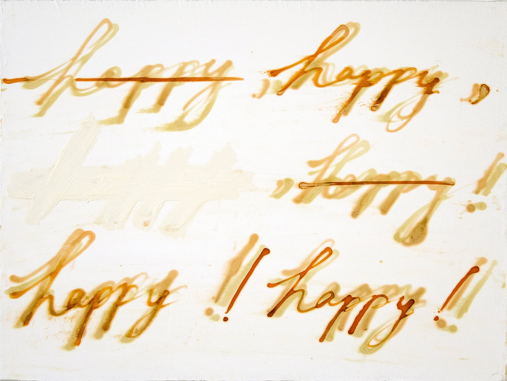 Mira Schor   Happy! Happy! , 2006  Ink and oil on gesso on linen  12 x 16 inches