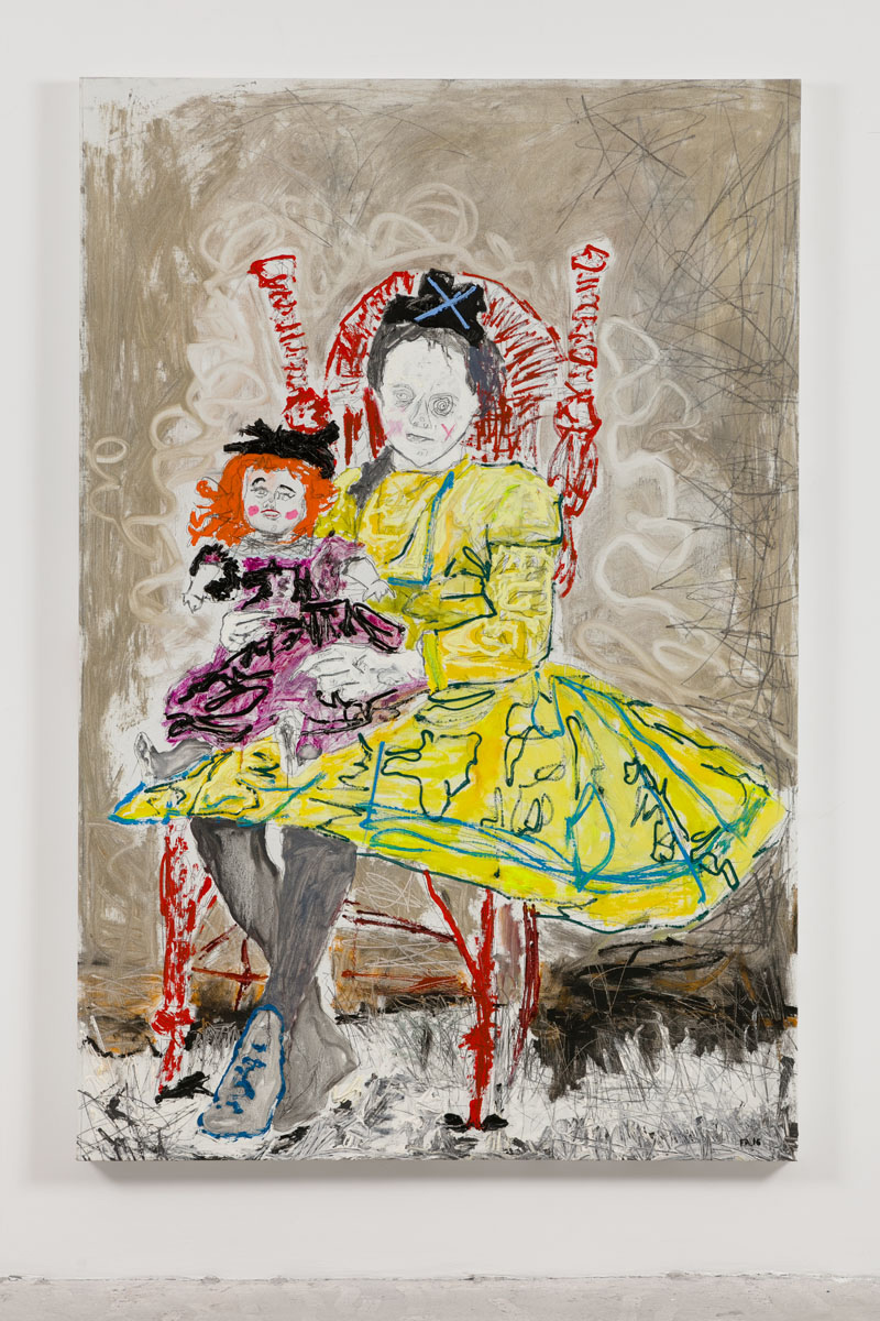 Farley Aguilar   Girl With Doll , 2016  Oil on linen  72 x 48 inches