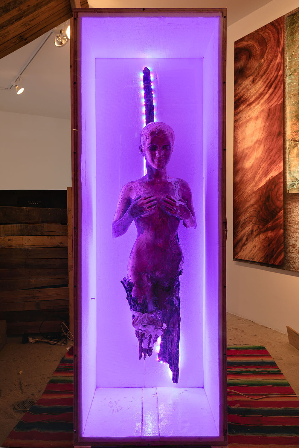 Yves Scherer    Our Lady of Guadalupe , 2017  Perspex, wood, LED lights, plaster, goldleaf, acrylic, paint, polystyrene, rug  83 x 60 inches