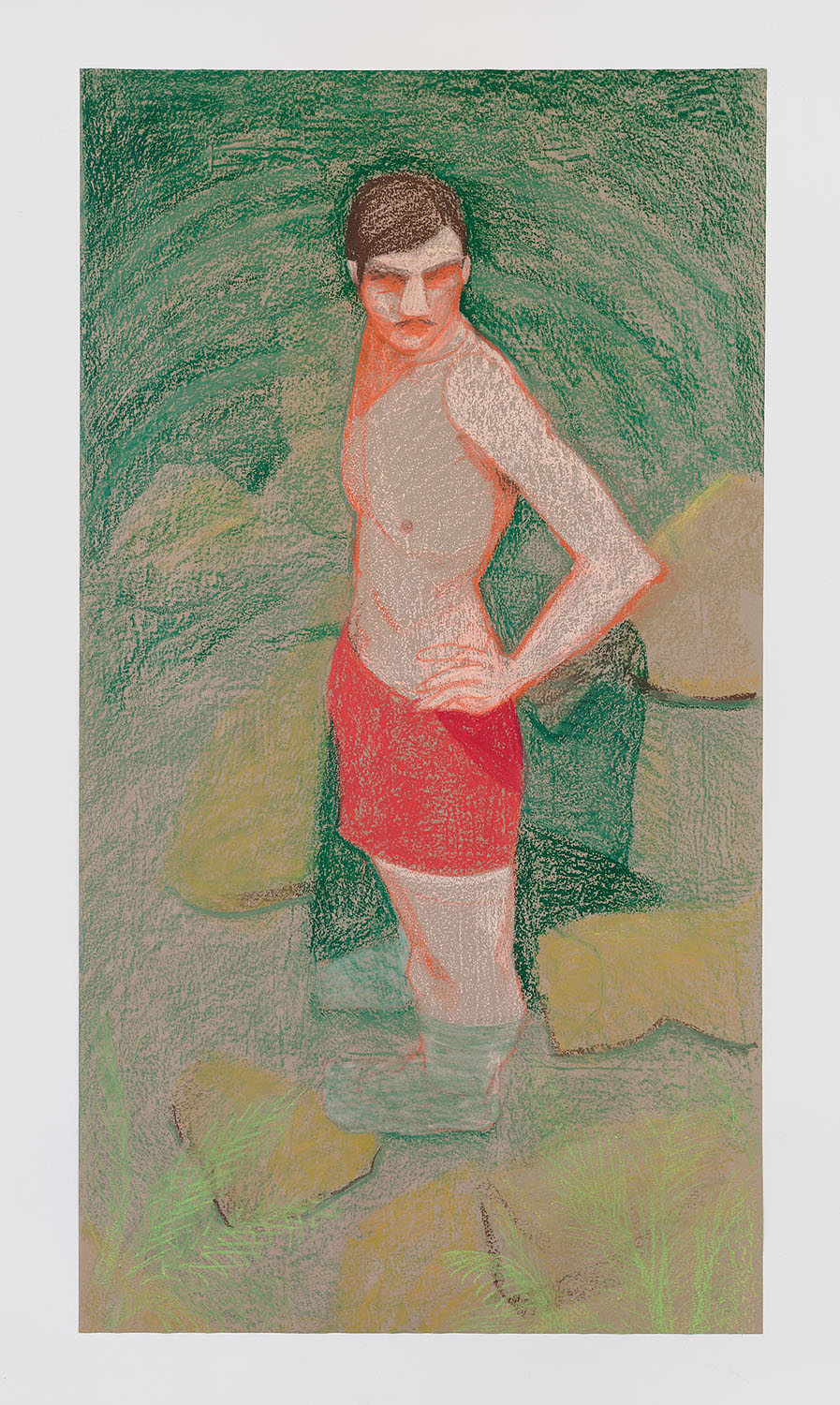 Anahid Mishek    Bather , 2017  Oil stick on paper  54 x 35.5 inches