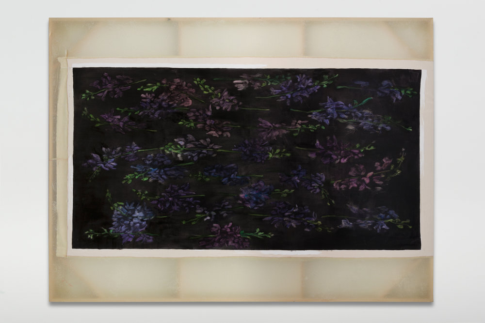 Erica Mahinay   Bed (Visions of a Final Form) , 2017  Oil on canvas, treated fabric  72 x 96 inches