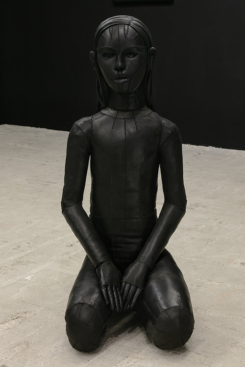 Aneta Grzeszkykowska   Untitled (Skin Doll) , 2016  Natural leather, stuffing, metal  40 x 54 x 100 cm  15.75 x 21.25 x 39.37 inches