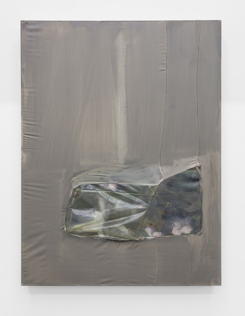 Erica Mahinay   Thin Skin #41: Flora , 2014  Oil on linen and treated fabric, plastic, glitter  32 x 24 inches