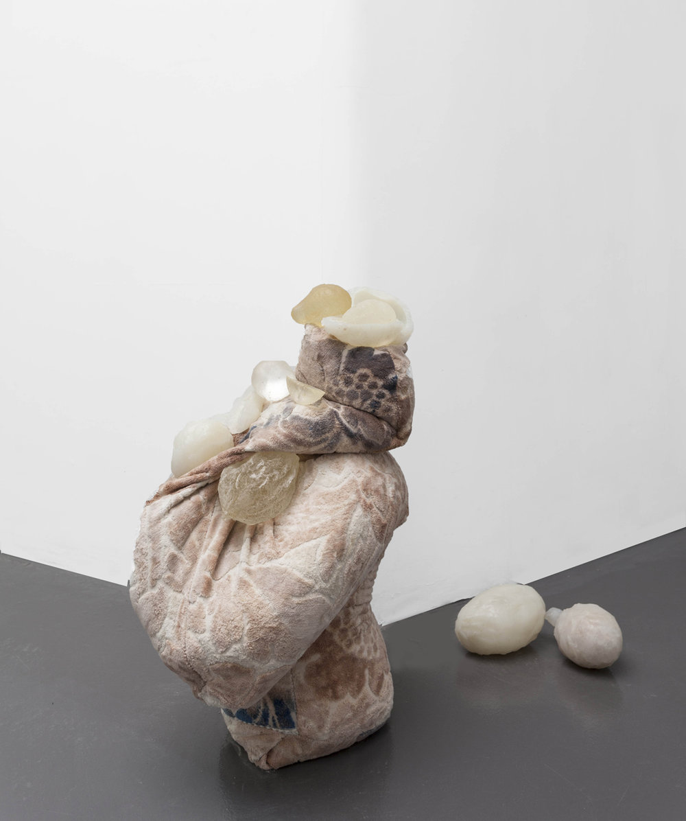 Erica Mahinay   Sand Slump #3: (Velveteen Slump) with Clones   Fabric, volcanic sand, silicon, resin  Dimensions variable