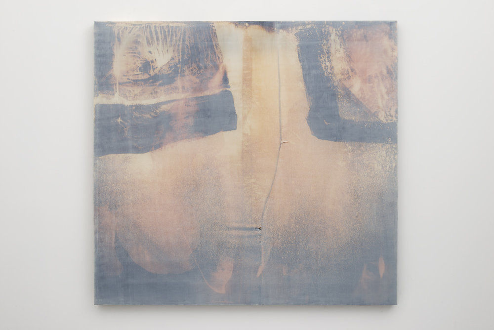 Erica Mahinay   Thin Air , 2016  Oil on bleached and treated fabric  58 x 62 inches