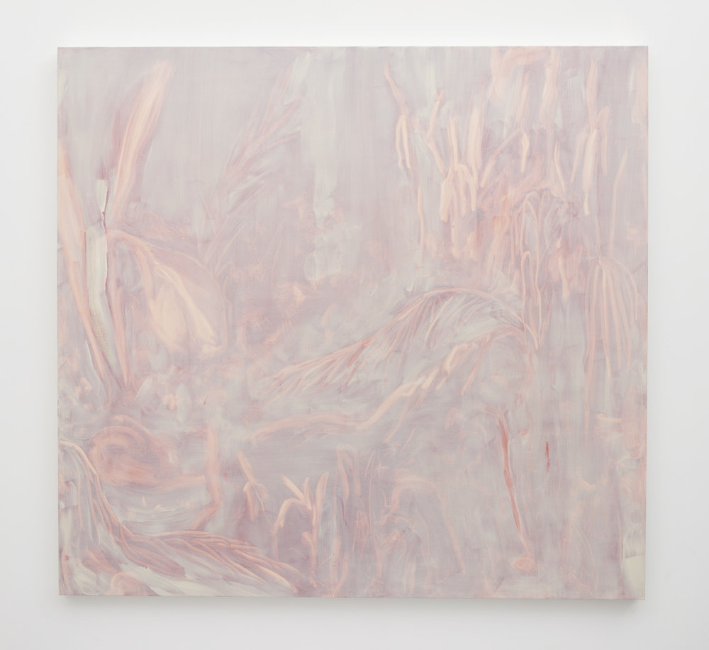Erica Mahinay   Hothouse , 2016  Oil on canvas  58 x 62 inches