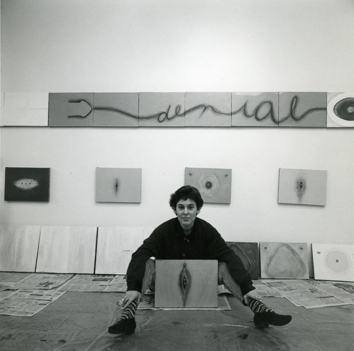 Mira Schor in front of  War Frieze  in her studio at Marie Walsh Sharpe Foundation, 1993 (photo: Sarah Wells)