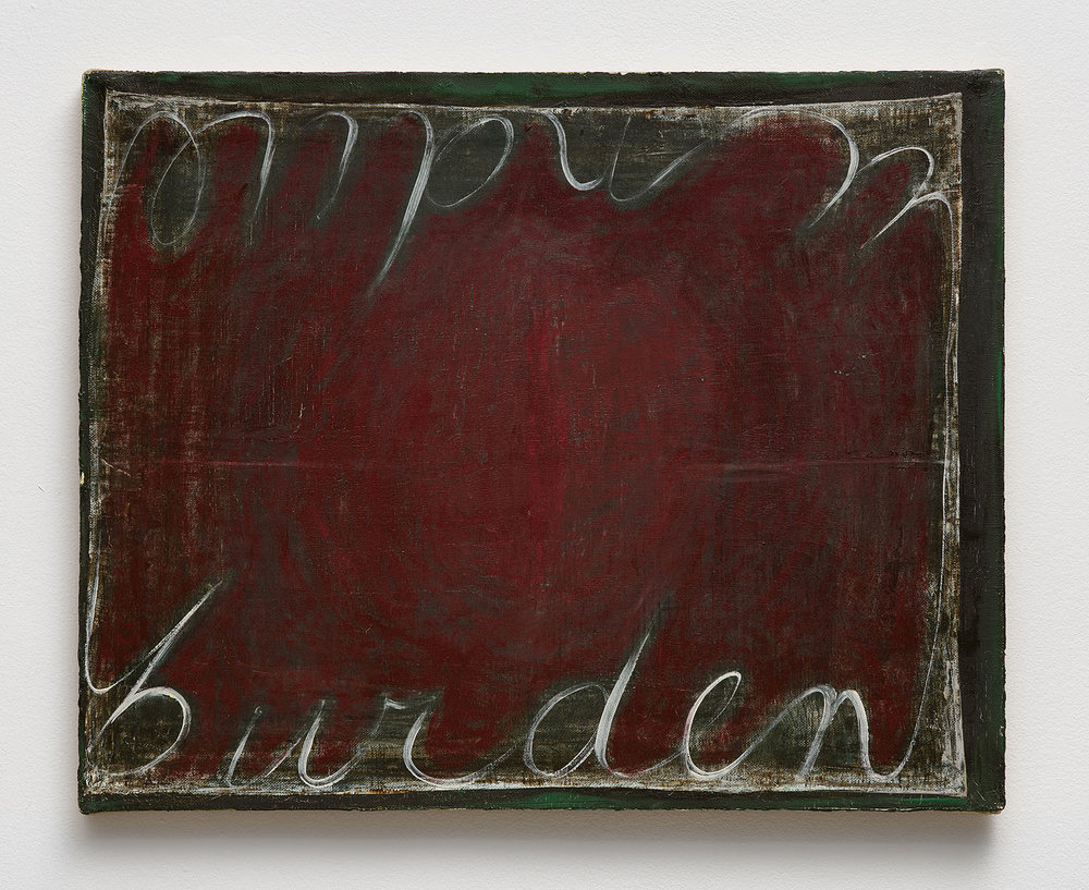 Mira Schor   Undue Burden , 1989  Oil on linen  16 x 20 inches