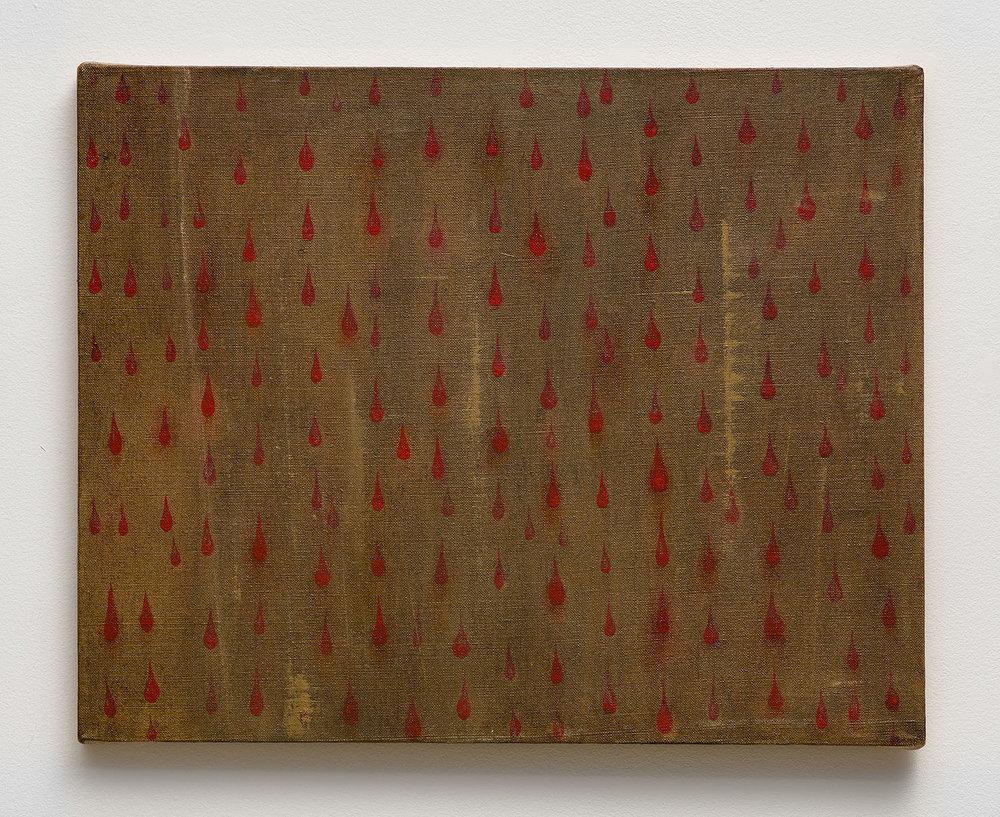 Mira Schor   Red Rain Comma , 1989  Oil on linen  16 x 20 inches